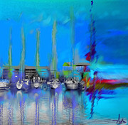 Sailboats Docked Digital Art Framed Prints - Sailing Abstract Framed Print by Agnes Kaminski