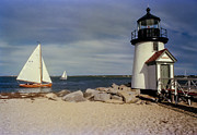 Brant Point Art - Sailing Across Brant Point Nantucket vers1 by WEB Shooter