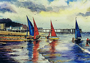 Beaches Drawings Posters - Sailing at Penarth Poster by Andrew Read