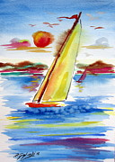 Sails Drawings - Sailing away by Roberto Gagliardi