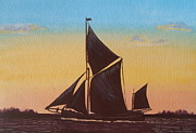 Elaine Jones Metal Prints - Sailing Barge at Sunset Metal Print by Elaine Jones