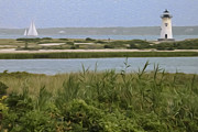 New England Lighthouse Digital Art Prints - Sailing Print by Bill  Wakeley