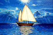 Deep Reflection Painting Posters - Sailing boat Poster by Amani Al Hajeri