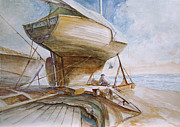 Wooden Ship Painting Prints - Sailing boat preparing Print by Timo Luomanpera