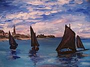 Monet Drawings Posters - Sailing Boats at Saint Addresse Poster by Eric  Schiabor