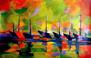 Bright Prints Painting Originals - Sailing boats by the river by Helena Wierzbicki