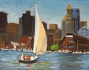 Boston Harbor Posters - Sailing Boston Harbor Poster by Laura Lee Zanghetti