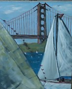 Sanfrancisco Paintings - Sailing by the Golden Gate by Debbie Wassmann