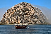 Morro Bay Photos - Sailing By The Towering Rock by Adam Jewell