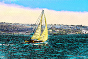 Sail Boats Posters - Sailing Poster by Cheryl Young
