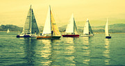 Sky Lovers Art Framed Prints - Sailing Day Regatta 2 Framed Print by Julie Lueders