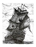 Pirate Ship Drawings Prints - Sailing Drawing Pen and Ink in Black and White Print by Mario  Perez