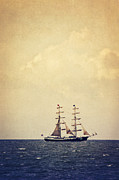 Sailing Ship Mixed Media Prints - Sailing II Print by Angela Doelling AD DESIGN Photo and PhotoArt
