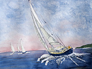 Sailing Drawings Metal Prints - Sailing II Metal Print by Eva Ason