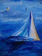 Impressionistic Drawings - Sailing in Fog on San Francisco Bay by Eric  Schiabor