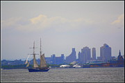Sailboats In Water Originals - Sailing in New York Harbor by Dora Sofia Caputo