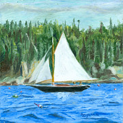 New England Ocean Drawings Prints - Sailing in Southwest Harbor Print by Dominic White