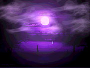 Friendly Digital Art - Sailing In The Moonlight by Joyce Dickens