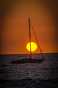 Sail Photographs Prints - Sailing into Sunset Print by Puget  Exposure