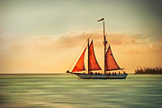 Hannes Cmarits Metal Prints - Sailing Into The Sun Metal Print by Hannes Cmarits