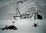 Junk Drawings - Sailing Junk by The Artist Taarax