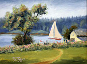 Maine Seacoast Paintings - Sailing North Haven by Tommy Thompson