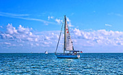 Yacht Photo Metal Prints - Sailing off of Key Largo Metal Print by Chris Thaxter