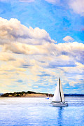 Yellow Sailboats Posters - Sailing On A Beautiful Day In Boston Harbor Poster by Mark E Tisdale