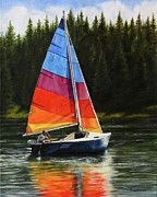 Sailboat Paintings - Sailing on Flathead by Kim Lockman