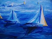 Sail Boats Drawings Posters - Sailing On San Francisco Bay Poster by Eric  Schiabor