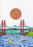 Golden Gate Drawings Posters - Sailing on San Francisco bay Poster by Michael Friend