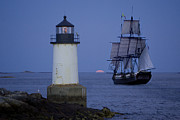 New England Lighthouse Digital Art Prints - Sailing out for the red moon Print by Jeff Folger