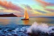 Sailing Past Waikiki Print by Dale Jackson