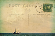 North Sea Mixed Media Prints - Sailing PostCard Print by Angela Doelling AD DESIGN Photo and PhotoArt