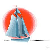 Water Vessels Digital Art Posters - Sailing Red Sun Poster by Ben and Raisa Gertsberg