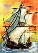 Ship Pastels Prints - Sailing Rough Print by Micki Davis