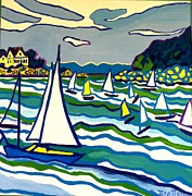 School Houses Painting Posters - Sailing School Manchester by-the-sea Poster by Debra Bretton Robinson