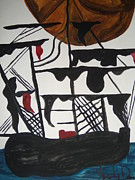 Pirate Ship Paintings - Sailing Ship by Judy Dow