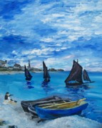 Cezanne Drawings Prints - Sailing the Beach at Sainte Adress Print by Eric  Schiabor