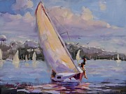 Boston Painting Originals - Sailing the Islands of Boston by Laura Lee Zanghetti