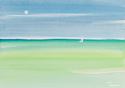 Sailboat Ocean Painting Originals - Sailing the Keys Watercolor Painting by Michelle Wiarda
