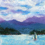 Lake Pastels Posters - Sailing the Lake Poster by David Patterson