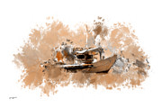 Rowboat Digital Art Posters - Sailing Time Poster by Lourry Legarde