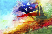 Patriots Digital Art Posters - Sailing to America Poster by Wendy Mogul