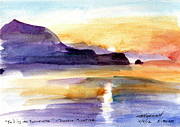 Mediterranean Prints - sailing to Sorrento double sunrise Print by Valerie Freeman