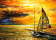 Sailboat Ocean Paintings - Sailing to the Future - NEW by Leonid Afremov