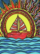 Sun Rays Paintings - Sailing to the Sun by Lorinda Fore