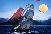 Sailing Towards High Peaks Print by MotionAge Art and Design - Ahmet Asar