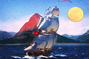 High Society Posters - Sailing Towards High Peaks Oil Poster by MotionAge Art and Design - Ahmet Asar
