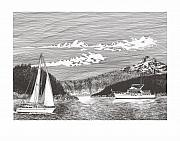 Yachts Drawings Prints - Sailing under Mount Hood  Print by Jack Pumphrey